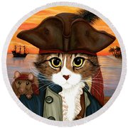 Round Beach Towel featuring the painting Captain Leo - Pirate Cat And Rat by Carrie Hawks