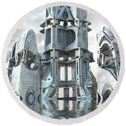 Captain Nemo's Palace Round Beach Towel by Hal Tenny