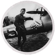 Captain Rickenbacker Round Beach Towel by War Is Hell Store