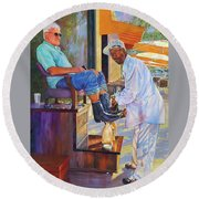 Captain Shoe Shine Round Beach Towel