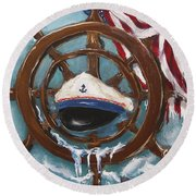 Captain's Home Round Beach Towel