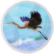 Captiva Crane In Flight Round Beach Towel