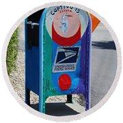 Round Beach Towel featuring the photograph Captiva Island Mailbox- Vertical by Michiale Schneider