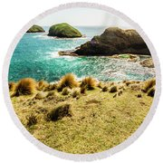 Captivating Coastal Cliff Round Beach Towel