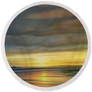 Captivating Sunset Over The Harbor Round Beach Towel by Judy Palkimas