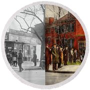 Round Beach Towel featuring the photograph Car - Accident - Looking Out For Number One 1921 - Side By Side by Mike Savad