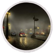 Round Beach Towel featuring the photograph Car - Down A Lonely Road 1940 by Mike Savad