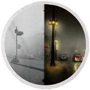 Round Beach Towel featuring the photograph Car - Down A Lonely Road 1940 - Side By Side by Mike Savad