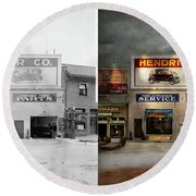 Round Beach Towel featuring the photograph Car - Garage - Hendricks Motor Co 1928 - Side By Side by Mike Savad