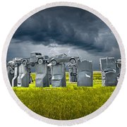 Car Henge In Alliance Nebraska After England's Stonehenge Round Beach Towel by Randall Nyhof