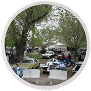 Round Beach Towel featuring the photograph Car Show In Deming N M by Jack Pumphrey