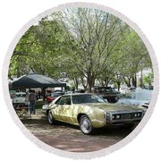 Round Beach Towel featuring the pyrography Car Show Saturday by Jack Pumphrey