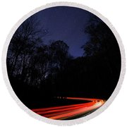 Car Trails Round Beach Towel