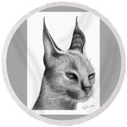 Caracal Round Beach Towel by Lawrence Tripoli
