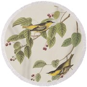 Carbonated Warbler Round Beach Towel