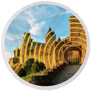Carcassonne's Citadel, France Round Beach Towel
