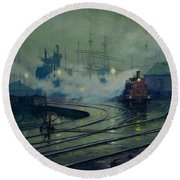 Cardiff Docks Round Beach Towel by Lionel Walden