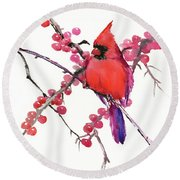 Cardinal And Berries Round Beach Towel by Suren Nersisyan