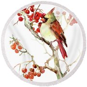 Cardinal Bird And Berries Round Beach Towel