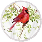 Cardinal Bird Round Beach Towel
