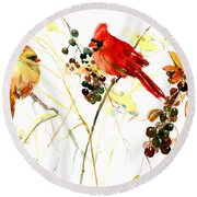 Cardinal Birds And Berries Round Beach Towel