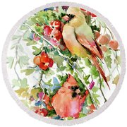 Cardinal Birds And Hawthorn Round Beach Towel by Suren Nersisyan