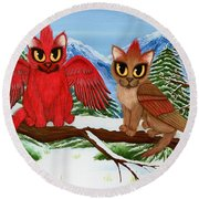 Cardinal Cats Round Beach Towel