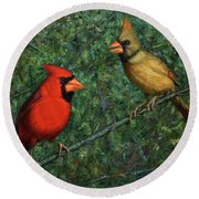 Cardinal Couple Round Beach Towel