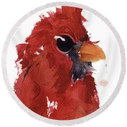Round Beach Towel featuring the painting Cardinal by Dawn Derman