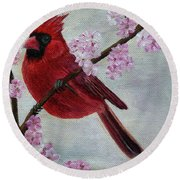 Cardinal In Cherry Blossoms Round Beach Towel by Jane Axman