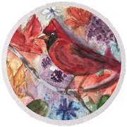 Cardinal In Flowers Round Beach Towel