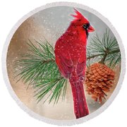 Round Beach Towel featuring the photograph Cardinal In Snow by Mary Timman