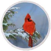 Cardinal In Winter II Round Beach Towel