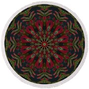 Round Beach Towel featuring the photograph Cardinal Kaleidoscope by Judy Wolinsky