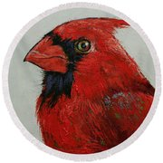 Cardinal Round Beach Towel by Michael Creese
