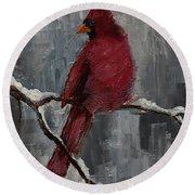 Cardinal North Carolina State Bird In Snow Round Beach Towel