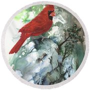 Round Beach Towel featuring the painting Cardinal by Sherry Shipley