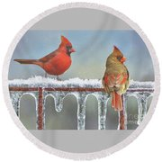 Cardinals And Icicles Round Beach Towel by Janette Boyd