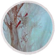 Round Beach Towel featuring the painting Cardinals In Trees Whilst Snowing by Robin Maria Pedrero