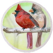 Cardinals Round Beach Towel