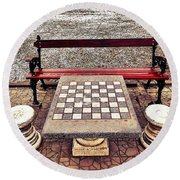 Care For A Game Of Chess? Round Beach Towel