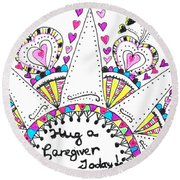 Caregiver Crown Of Hearts Round Beach Towel