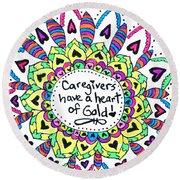 Caregiver Flower Round Beach Towel