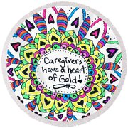 Caregiver Flower Round Beach Towel
