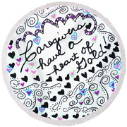Caregiver Hearts Round Beach Towel