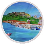 Carenage View Round Beach Towel