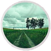 Caressing The Corn Path Round Beach Towel