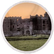 Carew Castle Coral Sunset Round Beach Towel by Steve Purnell
