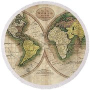 Round Beach Towel featuring the photograph Carey's Map Of The World  1795 by Daniel Hagerman