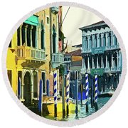 Ca'rezzonico Museum Round Beach Towel by Tom Cameron